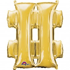 "Symbol # Supershape Gold Foil Balloon 34"""