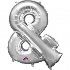 "Symbol & Shaped Silver Foil Balloon 34"""