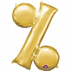 Symbol % Supershape Gold Foil Balloon 34""