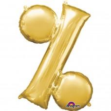 "Symbol % Supershape Gold Foil Balloon 34"""
