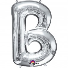 "Letter B Minishape Silver Foil Balloon 16"""