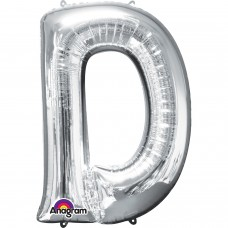 "Letter D Minishape Silver Foil Balloon 16"""