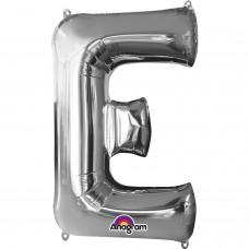 "Letter E Minishape Silver Foil Balloon 16"""