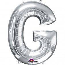 "Letter G Minishape Silver Foil Balloon 16"""
