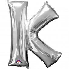 "Letter K Minishape Silver Foil Balloon 16"""