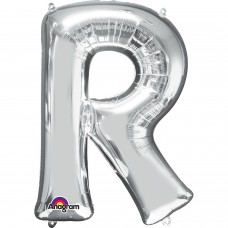 "Letter R Minishape Silver Foil Balloon 16"""