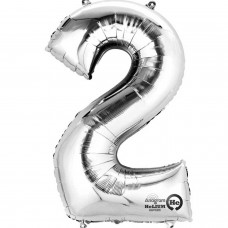 Number 2 Minishape Silver Foil Balloon 16""