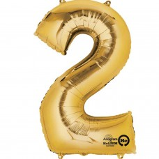 Number 2 Minishape Gold Foil Balloon 16""