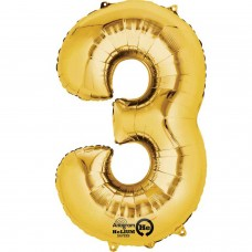 Number 3 Minishape Gold Foil Balloon 16""
