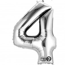 Number 4 Minishape Silver Foil Balloon 16""