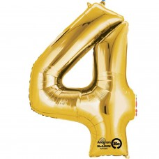Number 4 Minishape Gold Foil Balloon 16""