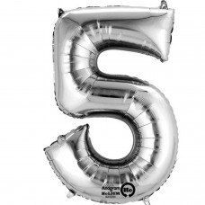 Number 5 Minishape Silver Foil Balloon 16""