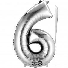 Number 6 Minishape Silver Foil Balloon 16""