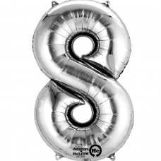 Number 8 Minishape Silver Foil Balloon 16""