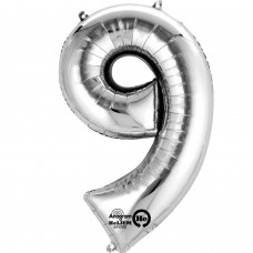 Number 9 Minishape Silver Foil Balloon 16""