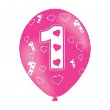 BALLOON  pk6 27cm Age 1 Pink