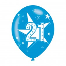 BALLOON  pk6 27cm Age 21 Blue