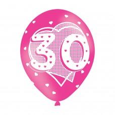BALLOON  pk6 27cm Age 30 Pink