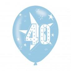 BALLOON  pk6 27cm Age 40 Blue