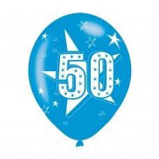 BALLOON  pk6 27cm Age 50 Blue