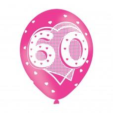 BALLOON  pk6 27cm Age 60 Pink