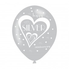 BALLOON  pk6 27cm 25th Silver