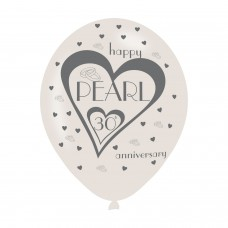 BALLOON  pk6 27cm 30th Pearl