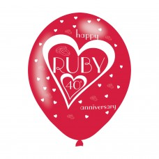 BALLOON  pk6 27cm 40th Ruby