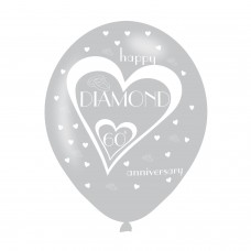 BALLOON  pk6 27cm 60th  Anniver