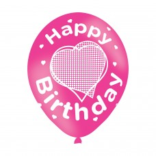 BALLOON  pk6 27cm Birthday Pink