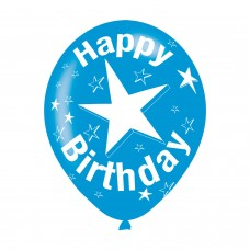 BALLOON  pk6 27cm Birthday Blue