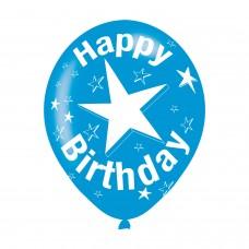 BALLOON  pk6 27cm Birthday Blue