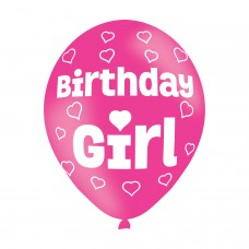 BALLOON  pk6 27cm Birthday Girl