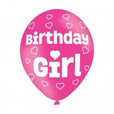 BALLOON  pk6 27cm Birthday Girl