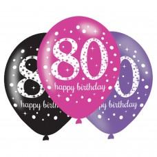 BALLOON:6pk 11 Inch Celebration 80 Pink