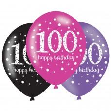 BALLOON:6pk 11 Inch Celebration 100 Pink
