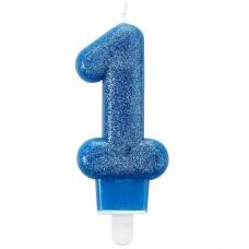 Candle num. 1 w. GLITTER Blue