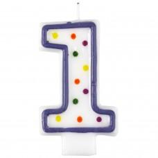 Candle num. 1 Polka Dots