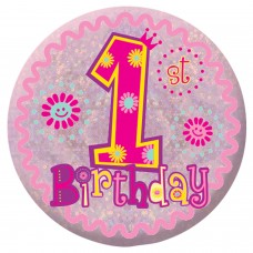 Badge Sml HoloG Happy 1st BD - Girl