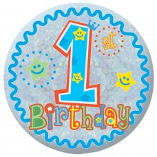 Badge Sml HoloG Happy 1st BD - Boy