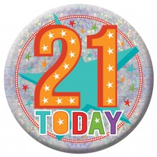 Badge Lge HoloG Hapy 21st BD