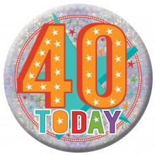 Badge Lge HoloG Hapy 40th BD