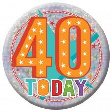 Badge Lge HoloG Hapy 40th BD