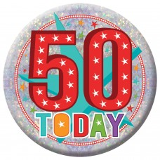 Badge Lge HoloG Hapy 50th BD