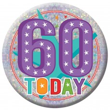 Badge Lge HoloG Hapy 60th BD