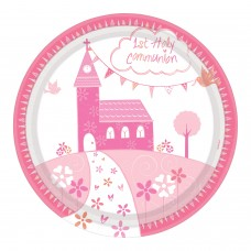 Communion Church Pink Plate 23cm