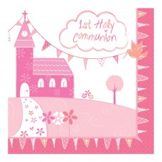 Communion Church Pink Napkin 33cm