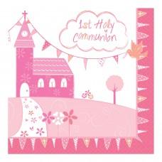 Communion Church Pink Napkin 33cm