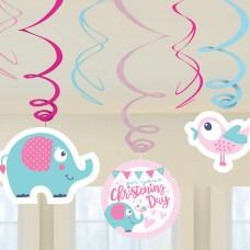 Christening Pink Swirl Decs